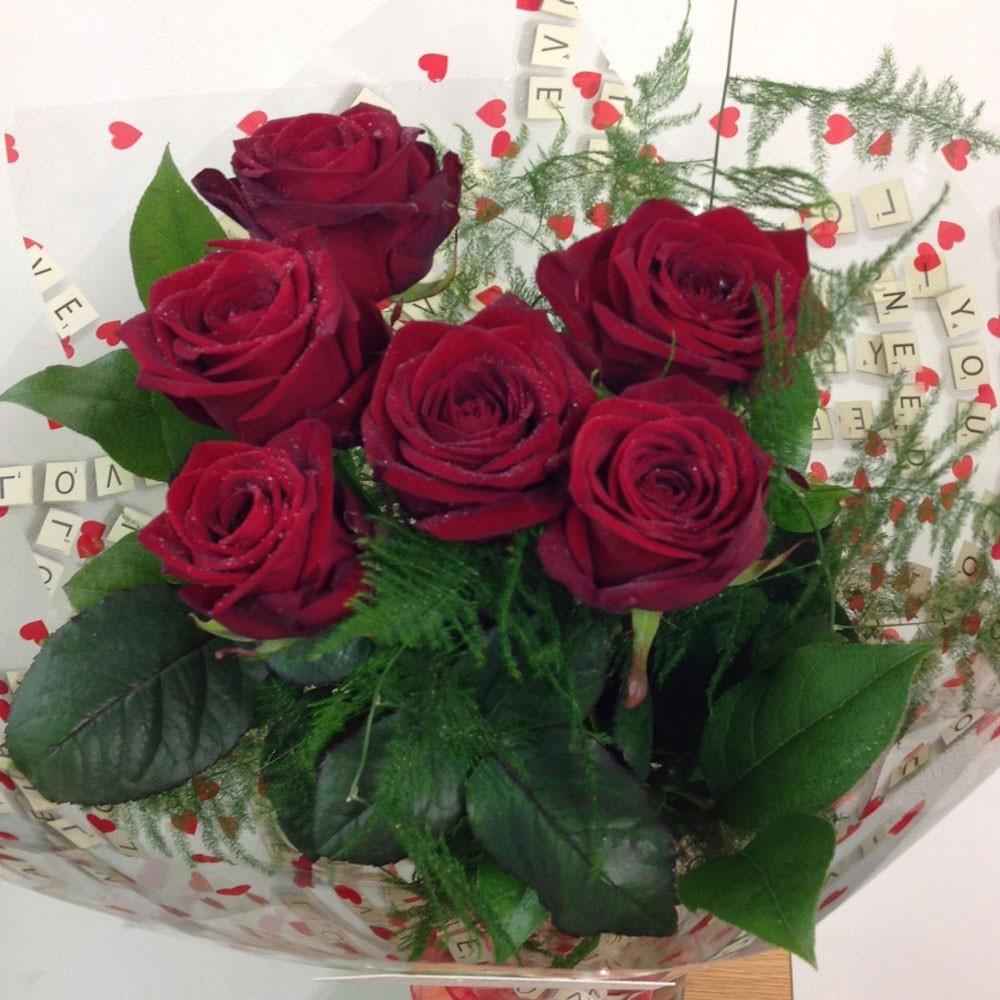 Half Dozen Red Naomi Roses