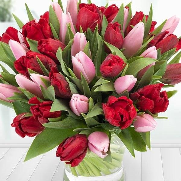Pink & Red Tulip Arrangement