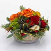 Roses, Holly, Pine & Carnations