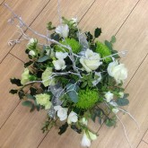 Frosted Green & White Blooms with Holly