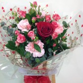 Marbled Pinks with 1 Red Rose