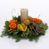 Orange Roses & Gold Candle Arrangement