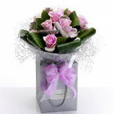 Hand Tied Glitter Pink Roses