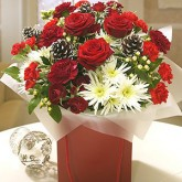 Red Roses with Pine Cones