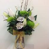 Silver Hurricane Vase Arrangement